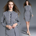 Spring/Autumn Fashion Occident Womens Long Sleeve Striped Commuter OL Mini Dress