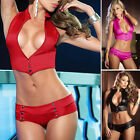 Womens Red Erotic Elastic Exposed Cleavage Temptation Lingerie Bra G-String Sets