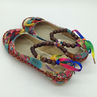 Vintage Flats Colorful Shoes Women Ethnic Lace Up Beading Round Loafers Toe Shoe