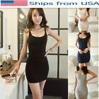 Women Cotton Camisole Spaghetti Strap Mini Dress Long Tank Tops Vests Sleeveless