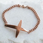 Rose Gold Sideways Cross Bracelet Chain - Minimalist Ladies Jewellery UK