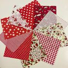 10 Bright Red White Mix 100% COTTON patchwork Squares 10cm X 12cm (GZ81))