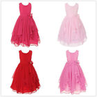 Lovely Girls' Pleated Dress Princess Round Neck Dress with Ruffled Sleeve New