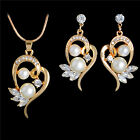 Gold Platinum Plated Simulated Pearl Necklace Pendant Earrings Women Jewelry Set