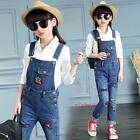 New Spring Kids Young Children Girls Red Lips Overalls Jeans Long Pants 5-14Y