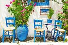 Greece Blue Chairs Greek Holiday Area Village Canvas Pictures Wall Art Prints
