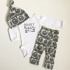 3PCS Set Newborn Baby Girls Boy Tops Romper +Long Pants Hat Outfits Clothes US