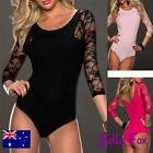 Womens Sexy Body Suit Teddy Plus Size Lingerie 8-22 Lace Sleeves Clubwear Top