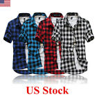 US Stylish Men's Plaid Check Short Sleeve Casual Shirt Slim Fit T-Shirt Tee Tops