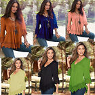 New Women Fashion V-Neck Loose Casual Lace Shirts Long Sleeves Tops Blouse