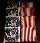 US PATRIOTIC STATUE OF LIBERTY RED BLUE 8 ACA Regulation Cornhole Bean Bags B138