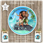 MOANA BIRTHDAY PARTY PERSONALISED ROUND GLOSS STICKERS X12