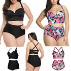 Women Plus Size High Waist Bandage Swimsuit Push-up Padded Bikini Set Swimwear