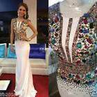 New Long Formal Evening Dress Crystal Cocktail Celebrity Party Prom Wedding Gown