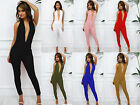 Glamzam New Womens Ladies Party Halterneck Plunge Low V Backless Skinny Jumpsuit