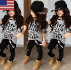 USA Boutique Toddler Kids Girl Tops T-shirt Pants Leggings Outfits Set Clothes фото