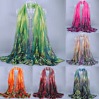 Fashion Women's Ladies Leaves Print Long Voile Scarf Shawl Wrap Stole Scarves