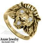 Heavy Men's Ring 14k Solid Yellow Gold Natural F/VS2 Diamond Lion Ring #R1922