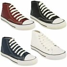 KIDS BOYS GIRLS SPOT ON HI TOP CANVAS LACE UP TRAINERS PUMPS SHOES X0002