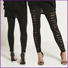 Ripped Leggings Lace Insert Ladies Womens Size Gym Clubbing New One Size Black ❤
