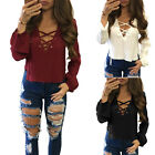 Women Ladies Lace Up Long Sleeve V Neck Ribbed Jumper Top Blouse T-Shirt Shirt