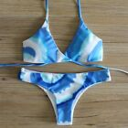 NEW SEXY WOMEN'S SWIMWEAR CHEEKY BOTTOM BIKINI BRAZILIAN SUMMER SET BLUE WHITE