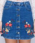 Womens Floral Embroidered Button Up Mini Denim Skirt Vintage Blue Casual