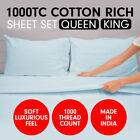1000TC CVC Cotton Bed Sheet Set King or Queen Fitted Flat Pillowcase 4 Pc