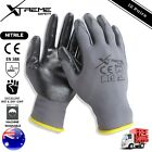 Xtreme Safety Gloves Grey Nitrile General Purpose Mechanical Work Gloves 12 pair