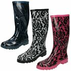 Womens Spot On Flat Lace Style Print Upper Welly - X1103