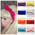 NEW PLAIN WIDE JERSEY FABRIC STRETCH BOW KNOT HEAD HAIR BAND DANCE HOLIDAYS GYM