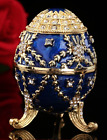 Quality Blue Royal Crystal Faberge Egg Russian European Trinket Jewellery Box