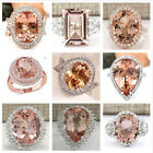 Large Morganite Gemstone 925 Silver & Rose Gold Filled Ring Women Party Jewelry