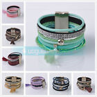 New Fashion Women Leather Wrap Wristband Cuff Magnetic Clasp Bracelet Bangle
