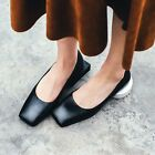 Womens Square Toe Special Heels Leather Slip on Pumps Shoes Hot Fashion