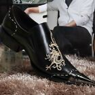 Mens Retro Pointy Toe Wing Tip Brogue Shoes Embroidery Floral Formal Dress Shoes
