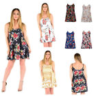 WOMENS LADIES CASUAL FLORAL PRINT SLEEVELESS CAMI SWING DRESS TOP PLUS SIZE 8-26