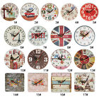 Artistic Silent Creative European Style Round Antique Wooden Home Wall Clock FV