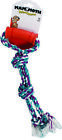FLOSSY CHEWS TWIN TUG WITH RUBBER HANDLE DOG TOY