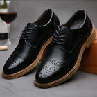 Men Business Casual Breathable Oxfords Leather shoes Dress Formal wedding Carved