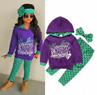 USA Boutique Mermaid Kids Girls Hooded Tops Pants Outfits 3Pcs Set Clothes 2-6T фото