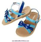Crazy 8 NWT Seaside Blue BOW PATENT FAUX LEATHER SANDALS DRESS SHOES US 4 7