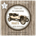 VINTAGE CAR 70TH 80TH 90TH BIRTHDAY PARTY PERSONALISED ROUND GLOSS STICKERS X12
