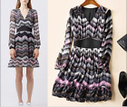 17 summer new Occident fashion sexy v-neck printed corrugated long-sleeve dress