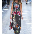 17 Occident brand stereo adornment fashion space printing bead women long dress
