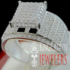 10K White Gold On Silver Simu Diamond Ladies Engagement Wedding Bridal Ring Band