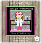 SCIENCE GIRLS BIRTHDAY PARTY PERSONALISED SQUARE GLOSS PARTY STICKERS X 12
