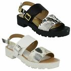 LADIES WOMENS SAVANNAH OPEN TOE BUCKLE STRAP SNAKE PRINT SANDALS F10418