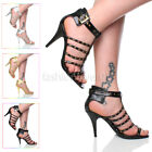 WOMENS LADIES STRAPPY GLADIATOR HIGH HEEL PARTY CUT OUT STUDDED SANDALS SIZE