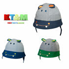 "Baby Toddler Boy Summer 100%Cotton Beach Hat Cap Chin Straps ""Hippo"" Size 2-6m"